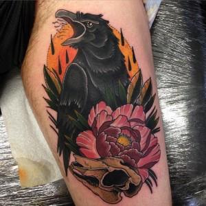 цветная татуировка ворон