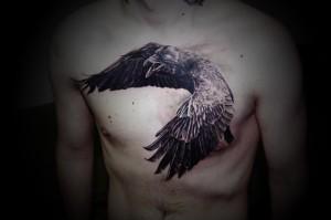 мужская тату ворон на грудь