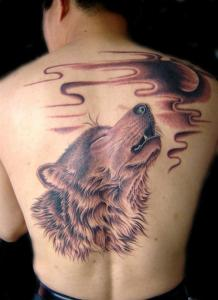 Волк на спине тату
